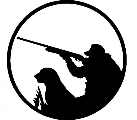 hunter_with_dog_adhesive_car_sticker_2__13444