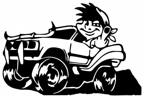 BOY-IN-JEEP-FLIPPING-THE-BIRD-5087-SELF-ADHESIVE-VINYL-STICKER-DECAL